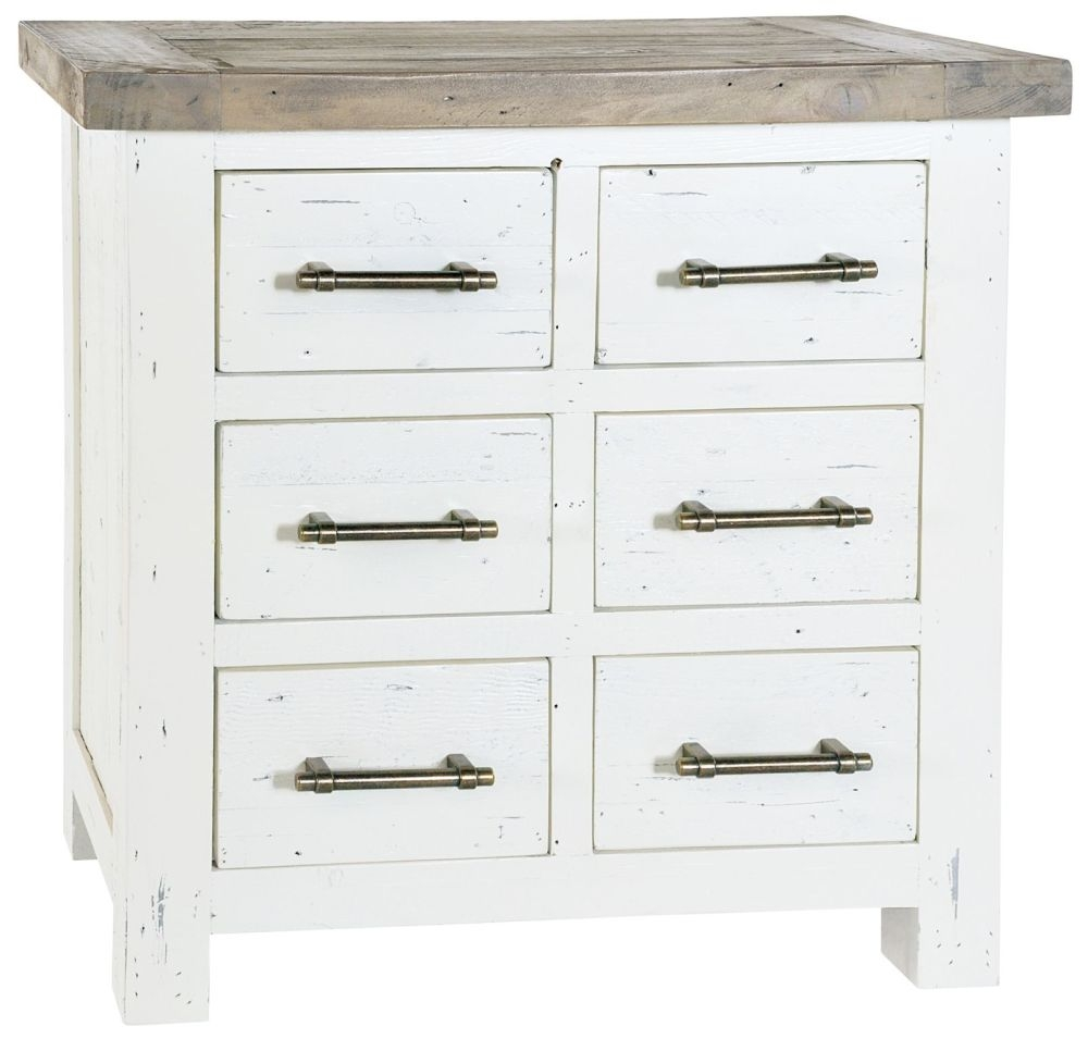 Rowico Purbeck 6 Drawer Chest - Distressed White