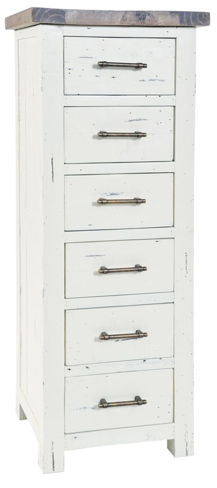 Rowico Purbeck 6 Drawer Tall Chest - Distressed White