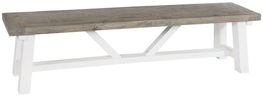 Rowico Purbeck Distressed White Dining Bench