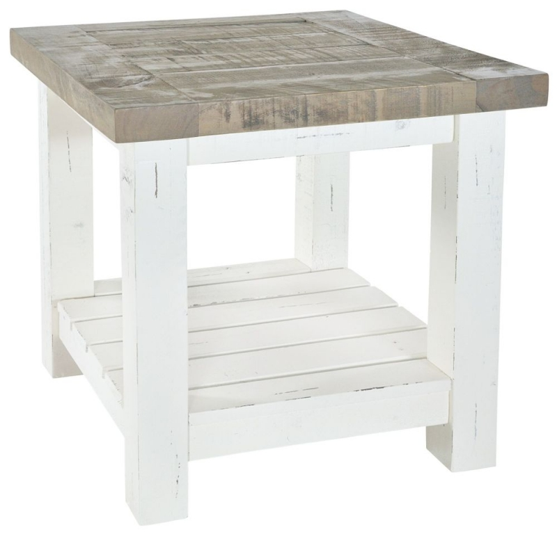 Rowico Purbeck Distressed White Lamp Table