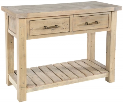 Rowico Saltash Reclaimed Pine 2 Drawer Console Table