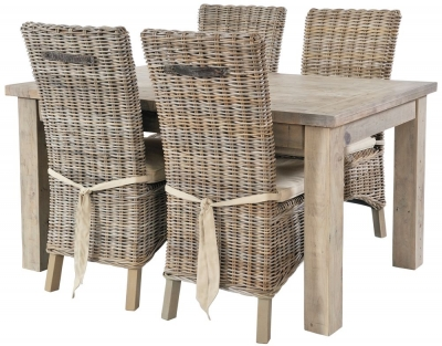 Rowico Saltash Reclaimed Pine 140cm-190cm Extending Dining Table and 4 Maya Grey Wash Chairs