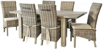 Rowico Saltash Reclaimed Pine 140cm-190cm Extending Dining Table and 6 Maya Grey Wash Chairs