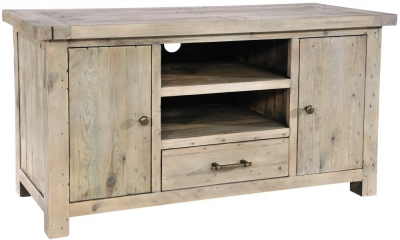 Rowico Saltash Reclaimed Pine 2 Door 1 Drawer TV Unit