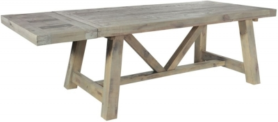 Rowico Saltash Reclaimed Pine Extending Dining Table with Leaves