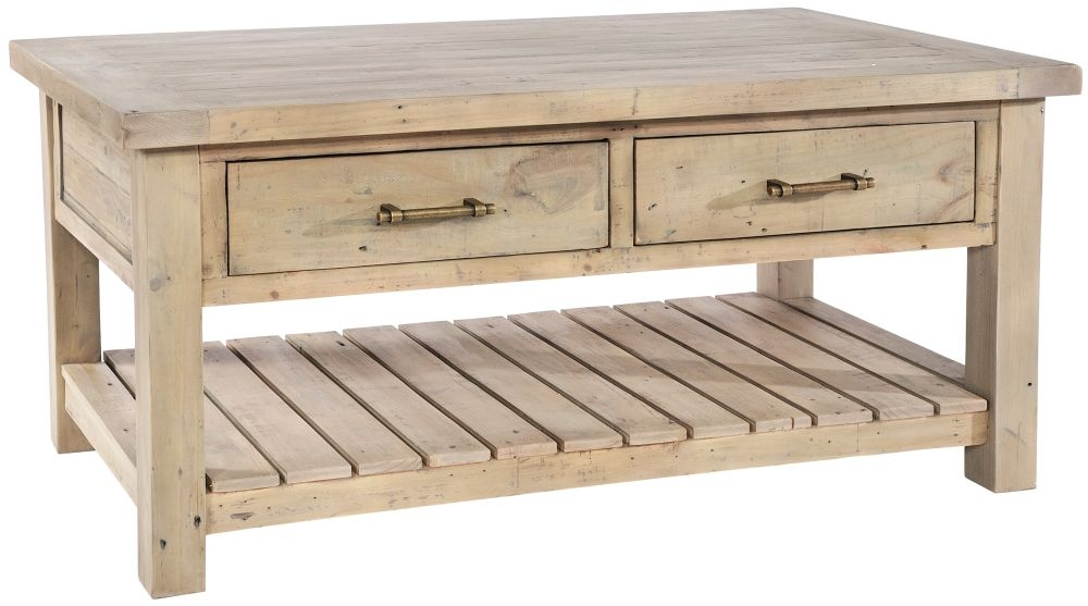 Rowico Saltash Reclaimed Pine 2 Drawer Coffee Table