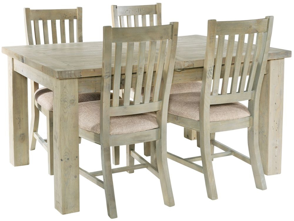 Rowico Saltash Extending Dining Table and 4 Slatted Chairs - Reclaimed Pine