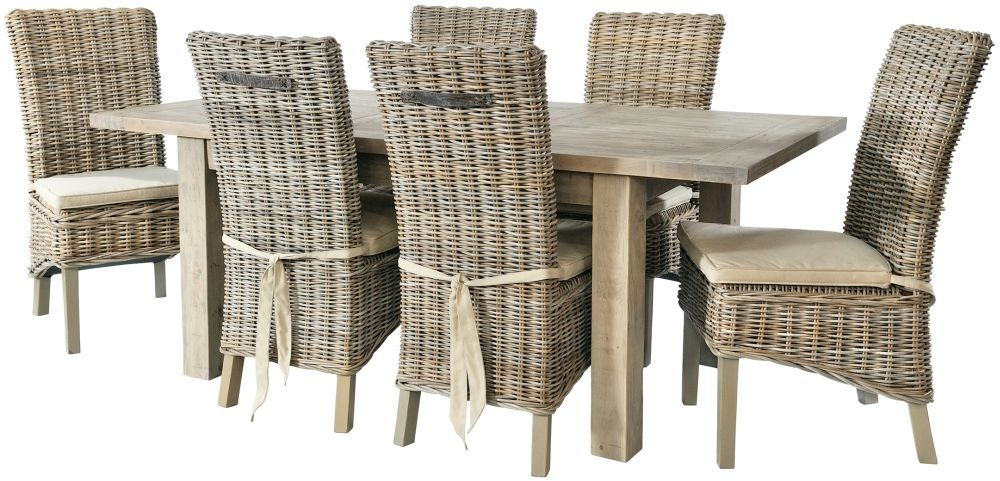 Rowico Saltash Extending Dining Table and 6 Maya Grey Wash Chairs - Reclaimed Pine