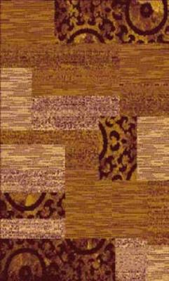 Designer Poly Patch Block Amber Polypropylene Rug