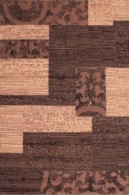Designer Poly Patch Block Chocolate Polypropylene Rug