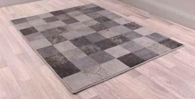 Modern Poly Squares Grey Polypropylene Rug