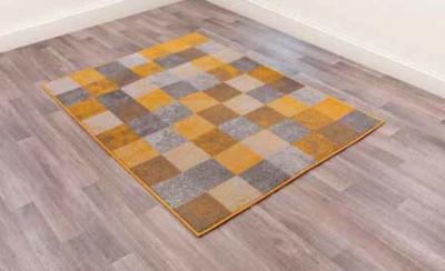 Modern Poly Squares Ochre Polypropylene Rug