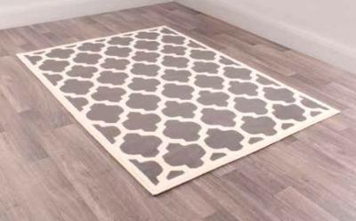 Modern Poly Tiles Cream Grey Polypropylene Rug