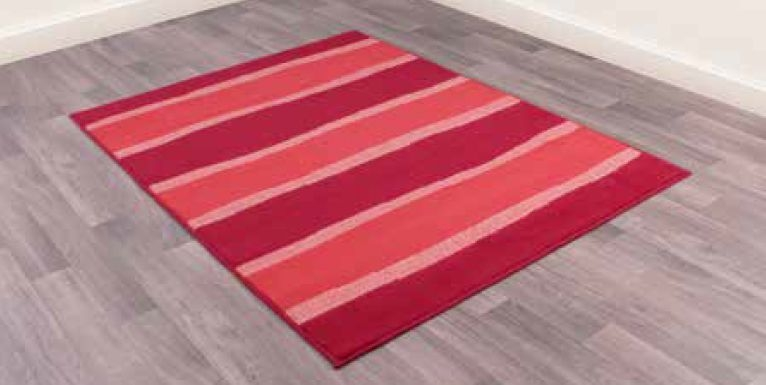 Modern Poly Nova Stripe Red Polypropylene Rug
