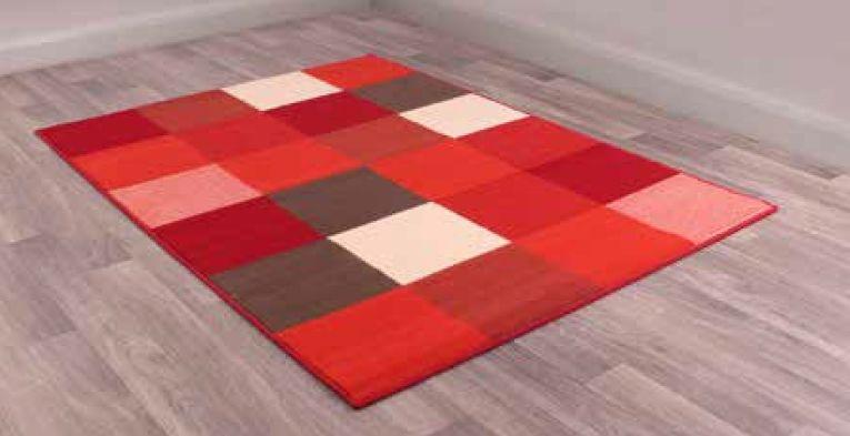 Modern Poly Pixels Red Polypropylene Rug