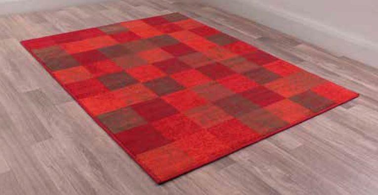 Modern Poly Squares Red Polypropylene Rug