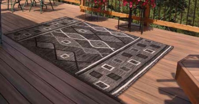 Outdoor Oasis Charcoal Polypropylene Rug