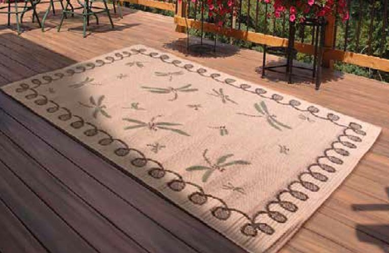 Outdoor Dragonfly Natural Polypropylene Rug