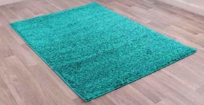 Retro Teal Plain Shaggy Polyester Rug