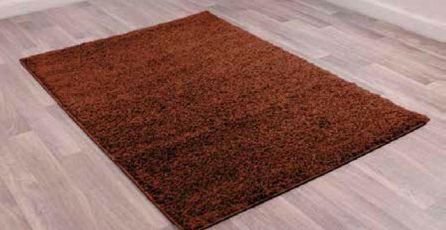 Retro Chocolate Plain Shaggy Polyester Rug