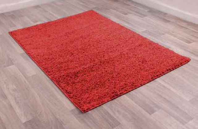 Retro Red Plain Shaggy Polyester Rug