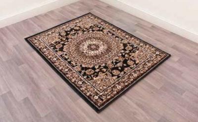 Traditional Poly Mosaic Black Polypropylene Rug