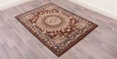 Traditional Poly Mosaic Brown Polypropylene Rug
