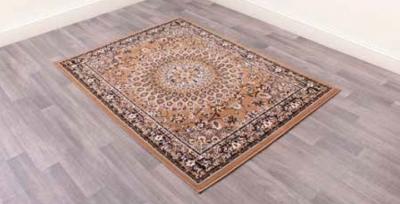 Traditional Poly Mosaic Gold Polypropylene Rug