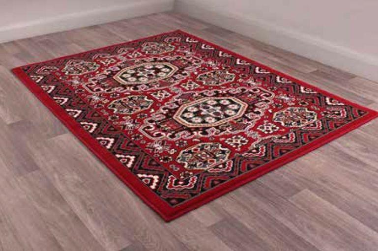Traditional Poly Kayo Red Polypropylene Rug