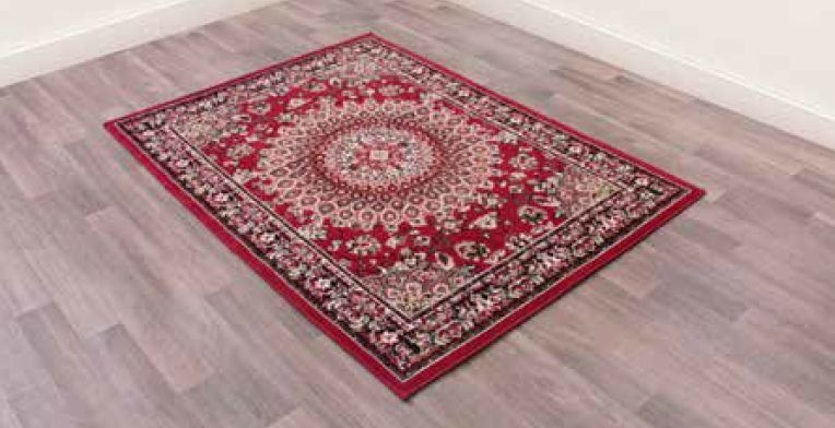Traditional Poly Mosaic Red Polypropylene Rug
