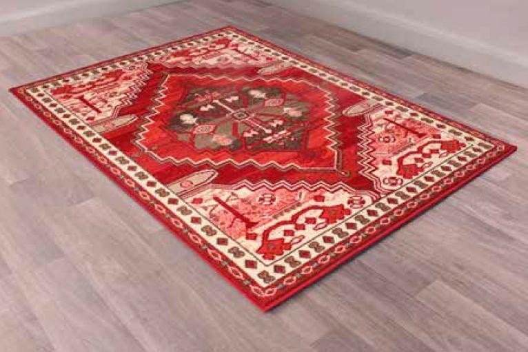 Traditional Poly Peking Red Polypropylene Rug