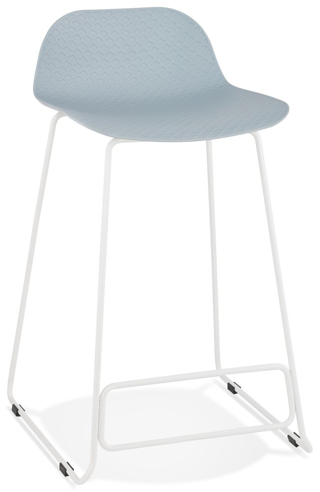 Barra Mini Blue and White Steel Snack Bar Stool