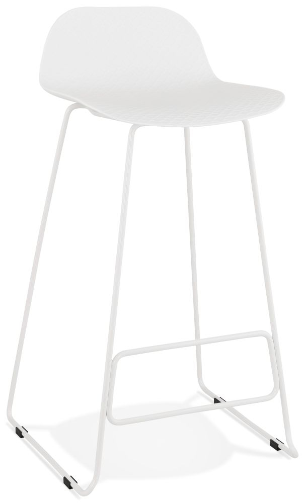 Barra White Painted Steel Bar Stool