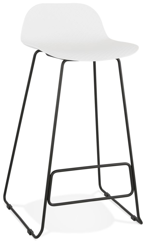 Barra White and Black Steel Bar Stool