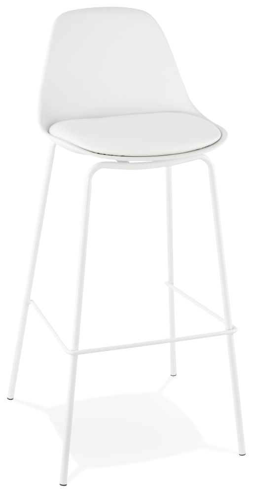 Eman White Painted Steel Snack Bar Stool - (Pair)