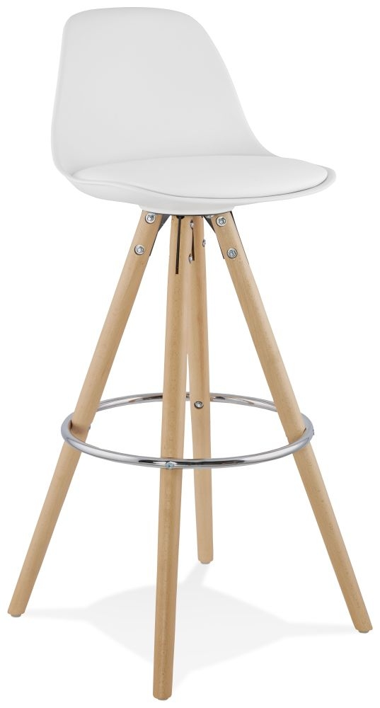 Tralee White and Beech Bar Stool - (Pair)