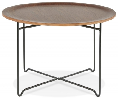 Matera Round Coffee Table - Walnut and Black