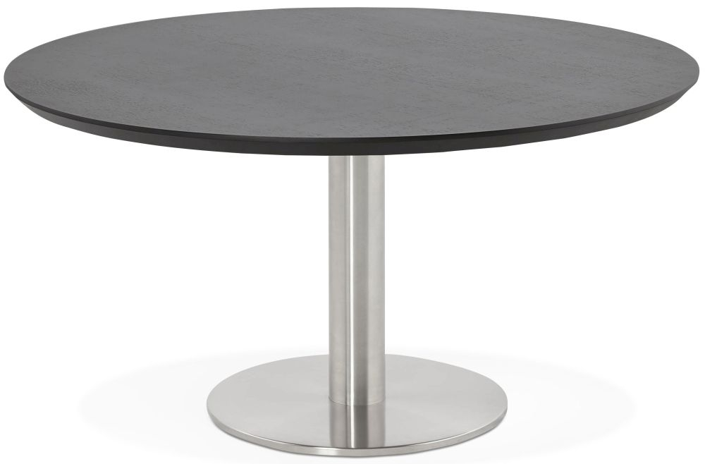 Arlo Round Coffee Table - Black and Brushed Steel