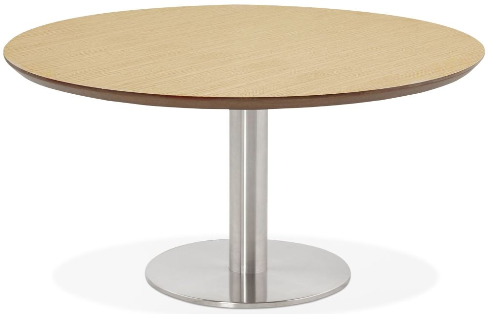 Arlo Round Coffee Table - Natural and Brushed Steel