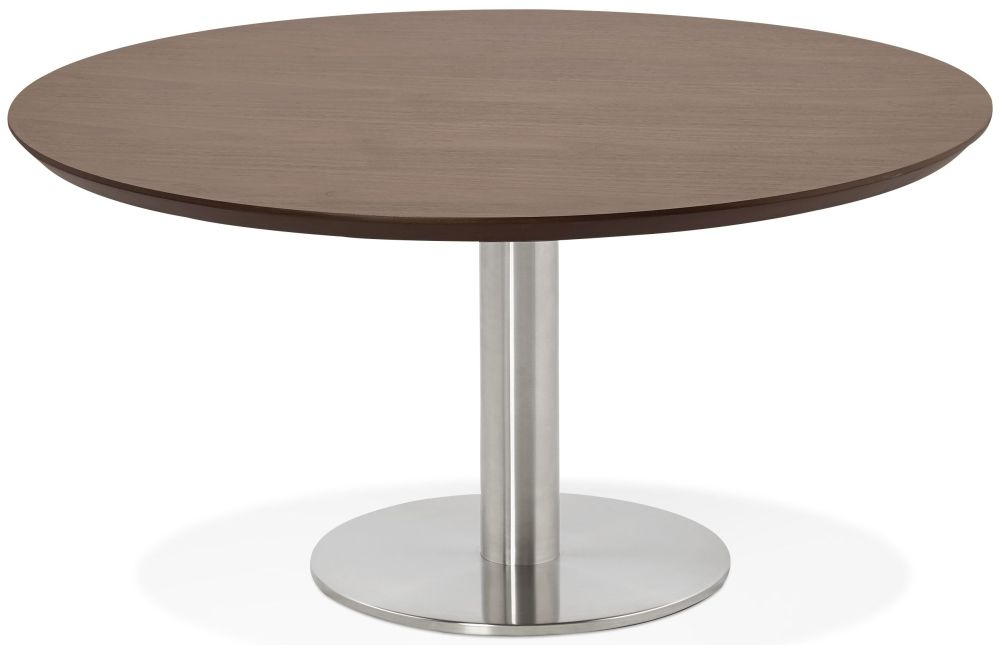 Arlo Round Coffee Table - Walnut and Brushed Steel