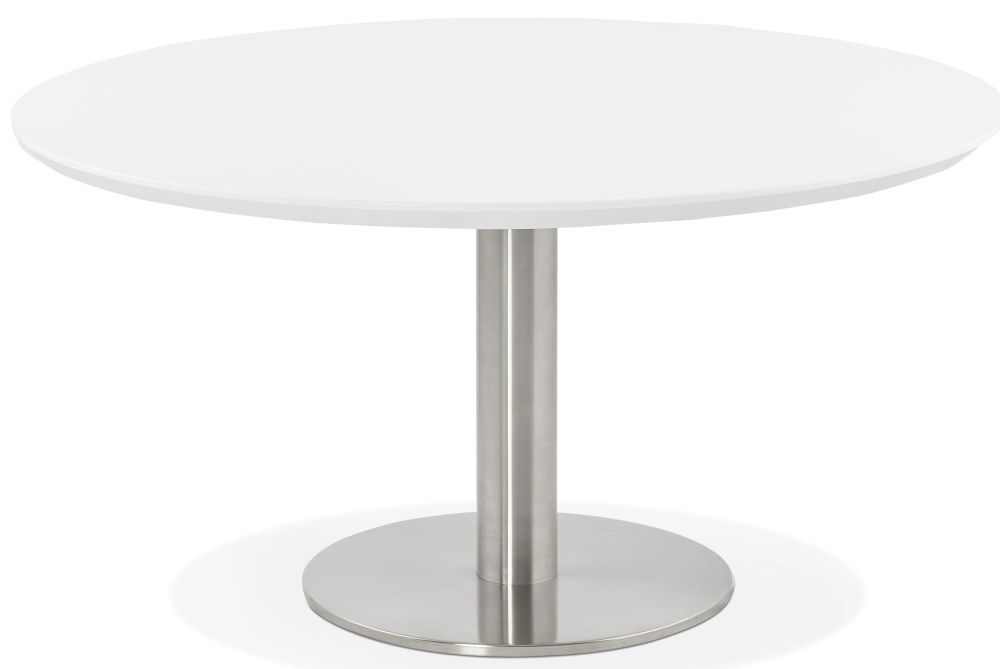 Arlo Round Coffee Table - White and Brushed Steel