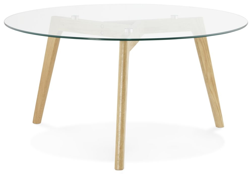 Dervla Round Coffee Table - Glass and Oak