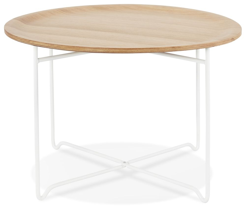 Matera Round Coffee Table - Natural and White