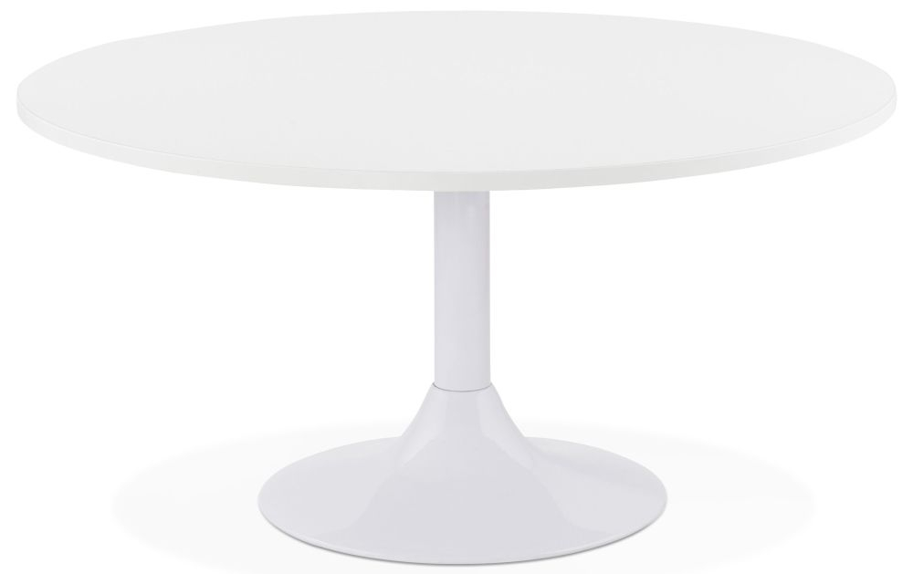 Niall Round Coffee Table - White and Painted Steel