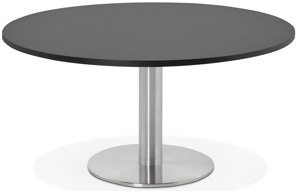 Perran Round Coffee Table - Black and Brushed Steel