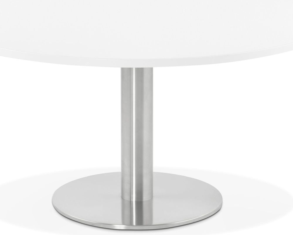 Perran Round Coffee Table - White and Brushed Steel