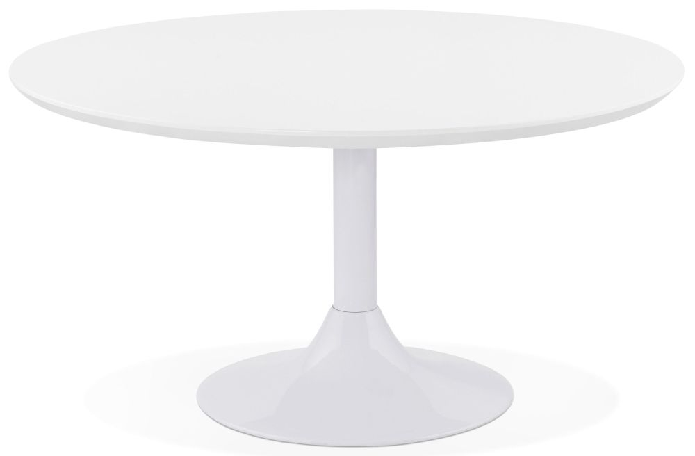 Takeley Round Coffee Table - White and Painted Steel