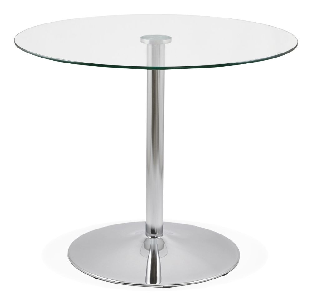 Antares Round Dining Table - Glass and Stainless Steel