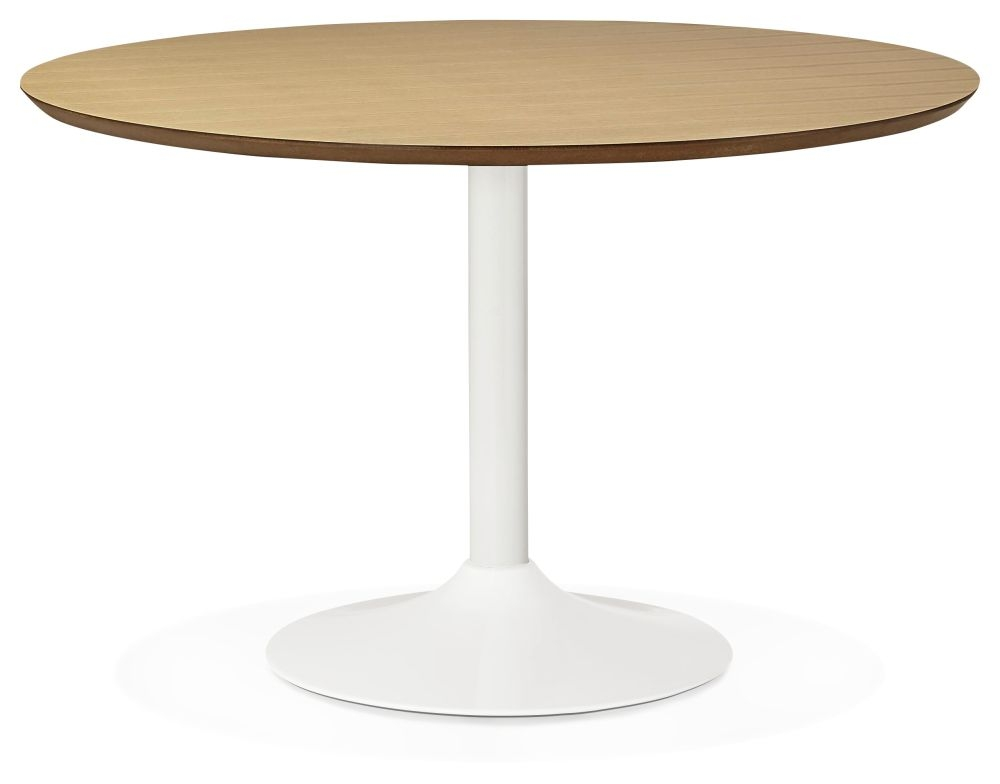 Aprica Large Round Dining Table - Natural and Painted Steel
