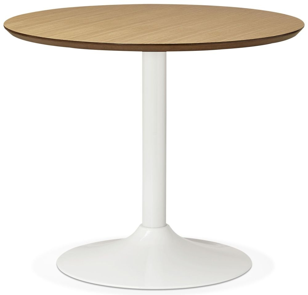 Aprica Small Round Dining Table - Natural and Painted Steel